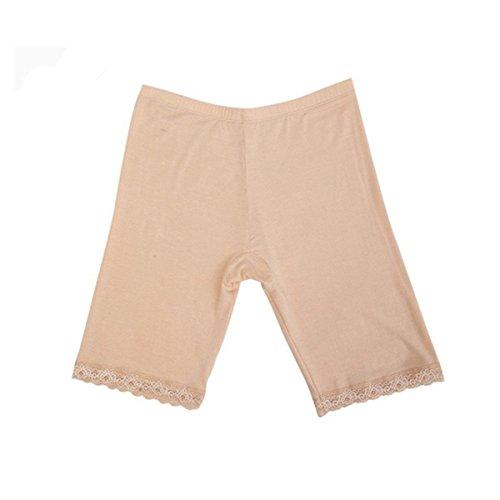 Femmes éLastiques En Cuir Court Leggings Under Pants Bottom Shorts Lace-Trimmed A02: Dentelle de peau