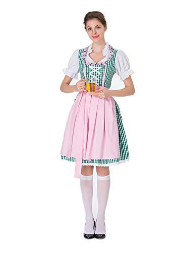 Yaohxu schwarz Trachtenkleid,Oktoberfest Kostüm für Damen Bayerisches Biermädchen Drindl Tavern Maid Dress,Bekleidung,Rosa,L