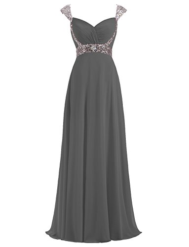 Erosebridal Formal Chiffon Lange Brautjungfernkleider Abendkleid Grau