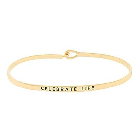 "Rosemarie Kollektionen Damen Dünn Haken Armreif Armband ""Celebrate Life"" (Gold)"