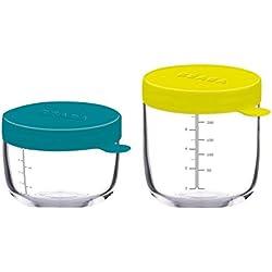BÉABA Lot de 2 pots de conservation en verre 150 ml blue/250 ml néon