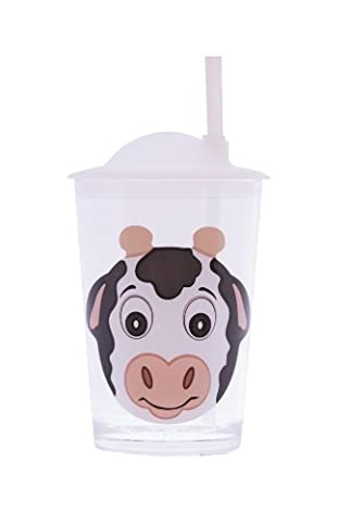 Epicurean Europe 7.5 x 7.5 x 14.2 cm Acrylic SAN Friendly Faces Children's Black and White Cow Design Tumbler with Straw Lid,