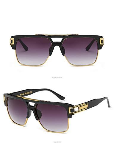 LKVNHP New Hohe Qualität Übergroßen Herren Sonnenbrille Frauen 155Mm Breite Sonnenbrille Für Mann Platz Schwarz Gold Gradienten Anti Reflektieren MarkeGlänzend Schwarz