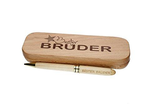 """Kugelschreiber mit Gravur""""Bester Bruder"""" in Geschenk-Schachtel aus Holz die Geschenkidee Stift graviert"""