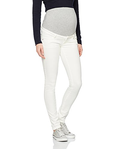 MAMALICIOUS Damen Umstandshose Mlsigga Slim Plain Jeans B. , Elfenbein (Antique White), W30/L32 (Herstellergröße:30) (Bauch-5-pocket-jean Keine)