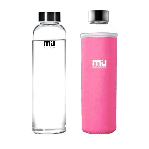 MIU COLOR Botella de agua para llevar estilosa de Vidrio Borosilicate