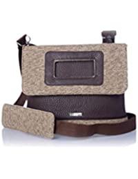 Veuza Madrid Premium Jacquard And Faux Leather Choco Brown Women's Sling