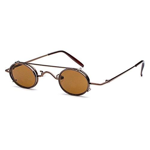 Juleya Juleya Retro Vintage Sonnenbrille Damen Herren Kleine Runde Steakpunk Abnehmbare Sonnenbrille C1