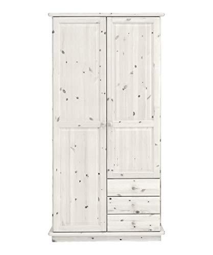 SAM Kleiderschrank ROMO, 2 Türen, 3 Schubladen, 3 Einlegeböden & 1 Kleiderstange, Kiefer massiv, White wash, 106 x 60 x 208 cm -