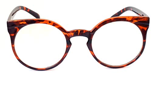 Lolablossom runde Cat Eye Nerd Brille Klarglas Pinup Retro Vintage Gypsy Stil (tortoise)