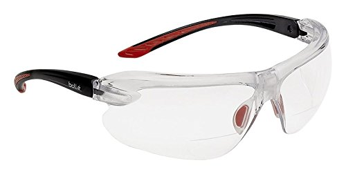 Bolle Safety Iri-S Safety Glasses with 2.50 Diopter, Black & Red Frame, Clear Lenses