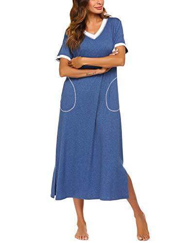 ADOME Nachthemd Baumwolle Nachtkleid Sommer still Pyjama lang Nachtwäsche Negligee Sleepshirt Schlafkleid V-Ausschnitt (XL, 6619_hellblau)