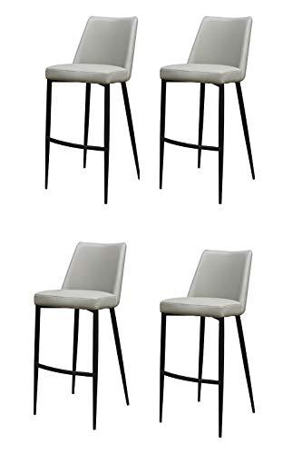 Meubletmoi Lot DE 4 - Chaises de Bar Simili Gris 4 Pieds métal Noir - Design Classique Contemporain - Moon