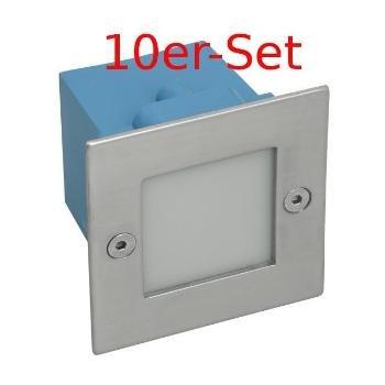 10er-Set Wandeinbaustrahler LED 230V Warm Weiß Treppenlicht weiß IP54,230V,1,5W inkl. Montagedose Stufenbeleuchtung Wandeinbauspots Treppenleuchte von unbekannt auf Lampenhans.de