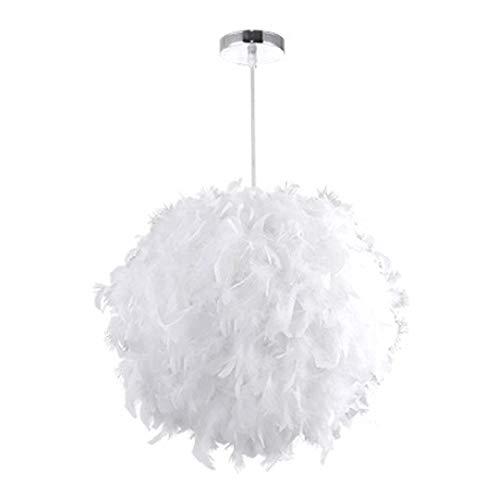 Welcomefee Feder-Deckenlampe Pendelleuchte Lampenschirm Romantische Tropfenlampe mit E27 Birne Elegante Feder Stehlampe Heimdekoration für Wohnzimmer Esszimmer und Schlafzimmer Large White -
