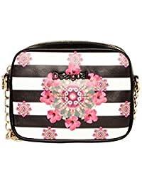 Desigual: viereckige Clutch bolso de Negro de color blanco con flores