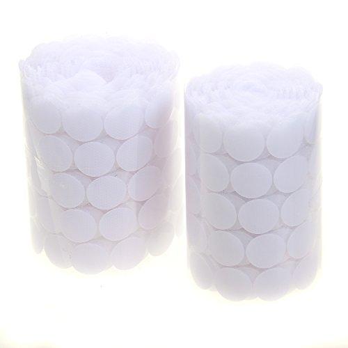 TUKA 1000 piezas(500 pares) 20mm pegajoso monedas puntos, adhesivos Círculos, almohadillas adhesivos, gancho y bucle Círculos auto-adhesivo, Blanco, TKB5026 White