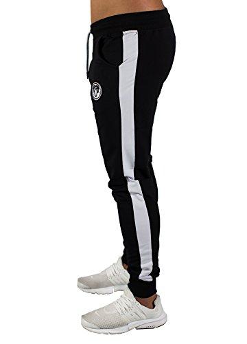 LIONPRIDE Herren Jogginghose, Sweatpants Slim Fit mit Seitenstreifen, Jogger für Sport Fitness Gym & Freizeit Schwarz