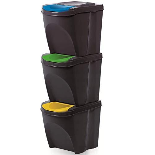 Prosperplast - Juego de 3 Cubos de Basura 20 L