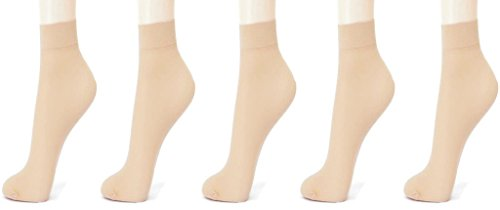 Alexa India- 5 pair pack of skin colour Sun protection transparent ladies socks with toe