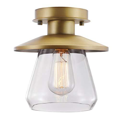 Retro Industrie Deckenleuchte Lampe, Messing mit Klar Glasschirm - Pendelleuchte Vintage Stil, Semi Flush Mount Deckenlampe - E27 Base Deckenleuchte für Küche, Loft, Flur, Eingangsbereich - Ø8