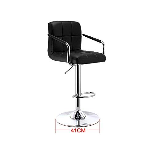 Guo shop- Continental PU Coussin bicolore peut être élevé et abaissé Rotating Bar Creative chaise haute européenne Retro Bar tabouret couleur Bonne chaise (Couleur : NOIR)
