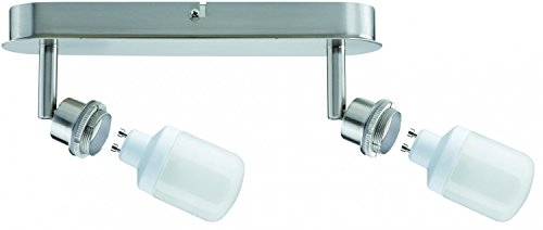 Spotlight, energy-saving bulb, 2x9W DecoSystems 230V, GZ10, Brushed iron