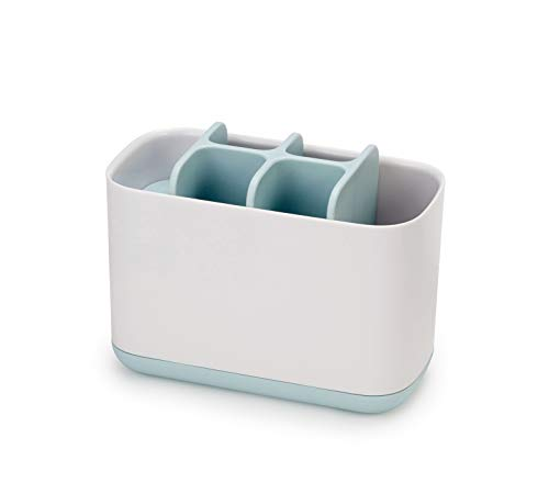 Joseph Joseph Bathroom Easy-Store Toothbrush Caddy, White/Blue, Large
