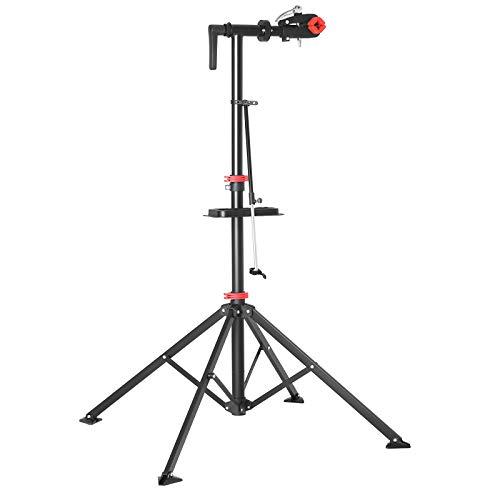 SONGMICS Schwerlast Fahrradmontageständer für Profis, Reparaturständer für Fahrräder, Montageständer mit magnetischer Werkzeugschale, Reparaturset, leicht, einfacher Transport, schwarz SBR05B -
