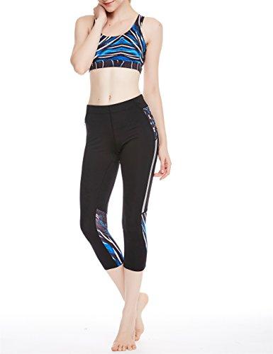 icyZone Damen Yoga Sport BH mit Abnehmbare Polsterung Racerback Fitness Top Strappy Bra Plume2