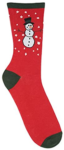 RJM Mens Cotton Rich Christmas Socks Size 7-11 Red Snowman