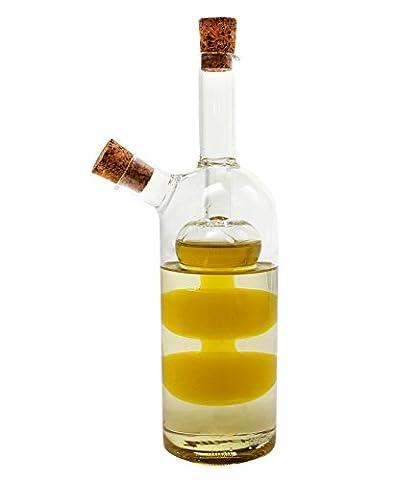 1aTTack 613819 2in1-Essig- und Öl-Spender aus Glas mundgeblasen ( 380ml-80ml ) 19,5cm