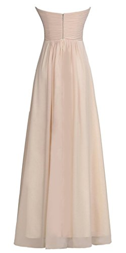 Vantexi Damen Trägerlosen Chiffon Lang Formal Abendkleid Ballkleid Rot