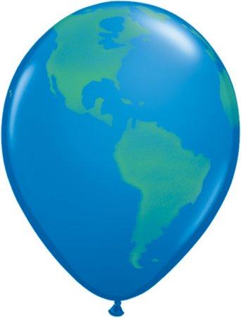Ballons mit Globus-Motiv, 28 cm, 25 Stück