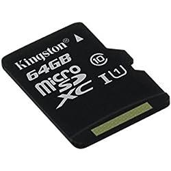 Kingston SDCS/64GBSP MicroSD Canvas Select UHS-I Classe 10 avec vitesse de lecture allant jusqu'à 80Mo/s ( carte seule ) - Donnez vie à vos vidéos HD