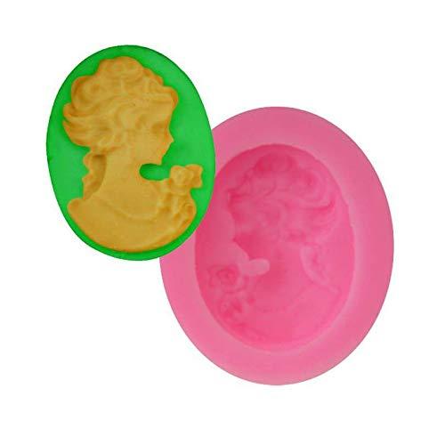 Frau Cameo-Blumen-Cabochon Oval, Silikon-3D Chocolate Soap-Kuchen, Fondant Cupcake, Ton, Harz, Wachs, Gelee-Herstellung von Schimmel, Gips-Gussform (Cameo-ton Schimmel)