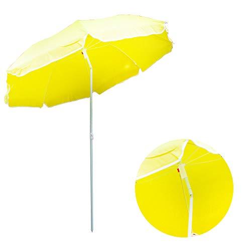 DRULINE Sonnenschirm Stripe Strandschirm gestreift knickbar Gelb Ø 180 cm