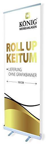 Roll Up Keitum 100x200cm | ohne Banner, ohne Druck | einseitiges Alu Roll-Up, Silber eloxiert | inkl. Tragetasche | Rollup Banner Bannerdisplay Werbebeanner Aufsteller für Werbung | Dreifke® - Aluminium Banner