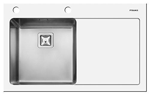 Pyramis 109504530 CRYSTALON (86X53) 1B 1D W LH Einbauspüle Weisses Glas mit Facettenschliff, Edelstahlbecken