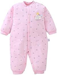b6e5ff267695 XIUBEIXING Fille Combinaison Barboteuse Bébé Hiver Epaisse Coton  Rose Grenouillère Pyjama Chou Mignon Cadeau