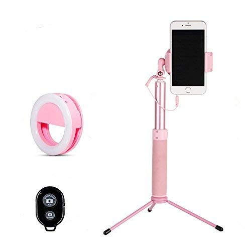 089451f6961 Selfie Stick Bluetooth, 1.12M Extendable Selfie Stick with Ring Light  Wireless Remote and Tripod
