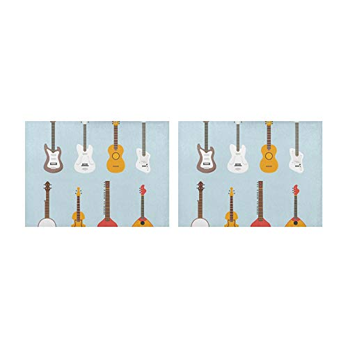 """SHAOKAO Tischsets Schöne Gitarre Verschiedene Vektorgitarren Tischsets 2er-Set rutschfeste waschbare Kaffeematten Hitzebeständige Küchentischsets Für den Esstisch Indoor Outdoor14 X 19"""" (35x48 cm)"""