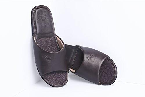Leder Pantoffeln KENROLL Gummisohle Hausschuhe Sommerurlaub Hausschuh Größen Zehentrenner Flip Flops für Herren für Damen Dunkelbraun