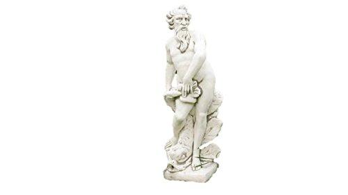 Wasserspeier Neptun, Skulptur aus Steinguss, Figur, Mann mit Fisch