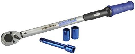 Goodyear Drehmomentschlüssel 75522 Inkl. Verlängerung und Stecknüsse 17 mm und 19 mm