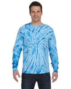 Adult 5.4 oz., 100% Cotton Long-Sleeve Tie-Dyed T-Shirt SPIDER BABY BLUE 3XL (Spider Tie Dye)