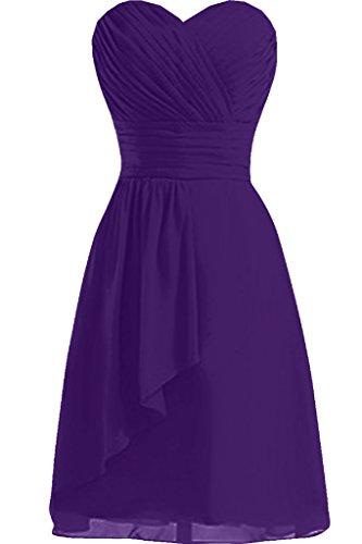 Sunvary Neu Damen Herzform Kurz Chiffon Falte Cocktailkleid Abschlussballkleider Violett