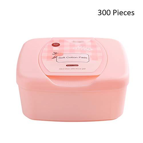 300pcs Maquillage du Visage lingettes de Coton nettoyant pour Le Visage feuilletant solvant Remover Amovible tampons cosmétiques Soins de la Peau avec Cas (Color : Pink, Taille : 7.5 * 5cm)