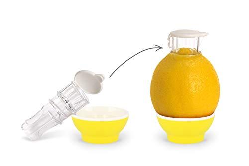 Patent-Safti,Entsafter,Safti,Orangen Entsafter,Limetten Entsafter,Zitonen Entsafter,Zitronenpresse,Zitronen Ausgießer,BPA frei,(Gelb)