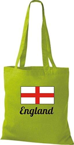 ShirtInStyle Stoffbeutel Baumwolltasche Länderjute England Farbe Pink limegreen